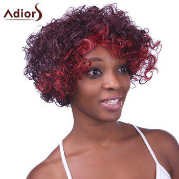 Fashion Red Ombre Claret Synthetic Gorgeous Inclined Bang Fluffy Curly Wig For Women - OMBRE 2