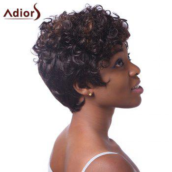 Fluffy Curly Spiffy Short Haircut Capless Stunning Brown Women's Highlight Synthetic  Wig - RED MIXED BLACK
