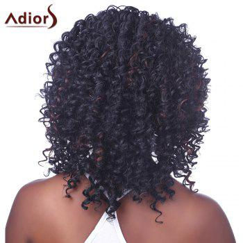 Shaggy Afro Curly Capless Trendy Short Black Brown Mixed Women's Synthetic Wig - BLACK/BROWN