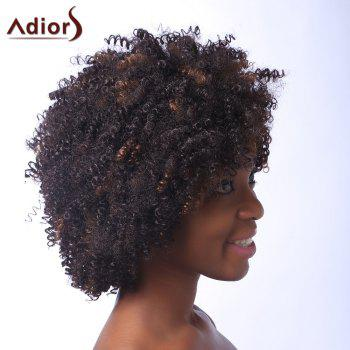 Vogue Brown Highlight Capless Fluffy Afro Curly Short Synthetic Women's Adiors Wig - /3