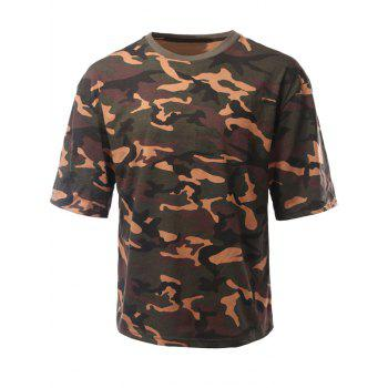 Loose-Fitting Camouflage Drop Shoulder Round Neck Short Sleeve Men's T-Shirt