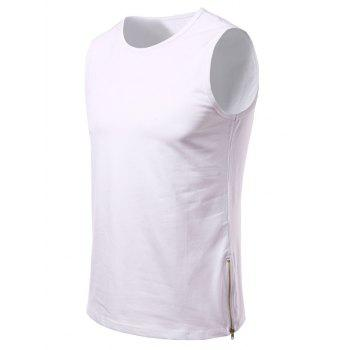 Side Zipper Design Loose-Fitting Round Neck Men's Tank Top