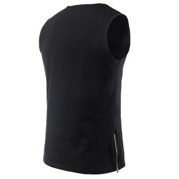 Side Zipper Design Loose-Fitting Round Neck Men's Tank Top - M M