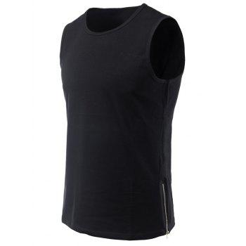 Side Zipper Design Loose-Fitting Round Neck Men's Tank Top - BLACK M