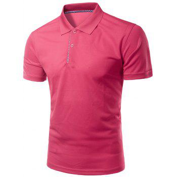 Solid Color Slimming Turn-Down Collar Short Sleeve Men's Polo T-Shirt
