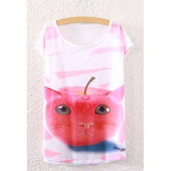 Short Sleeve Apple Cat Print T-Shirt