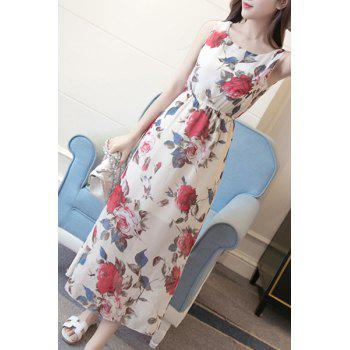 Bohemian Style Women's Scoop Neck Rose Print Dress