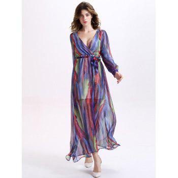 Graceful Plunge Neck Colorful Stripe Women's Long Dress