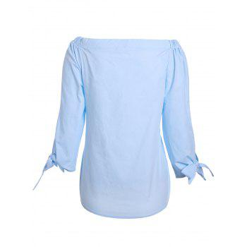 Trendy Pure Color Slash Neck 3/4 Sleeve Blouse For Women - AZURE AZURE