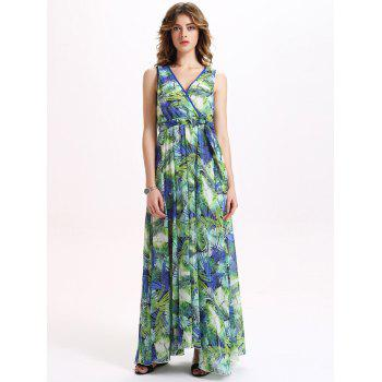 Chiffon Sleeveless Tropical Print Maxi Dress
