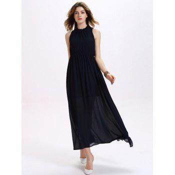 Trendy Ruffled Neck Backless Sleeveless Elastic Waist Women's Chiffon Maxi Dress