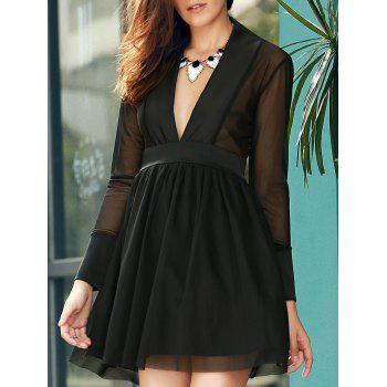 Trendy Long Sleeve Plunging Neck Pure Color See-Through Women's Dress