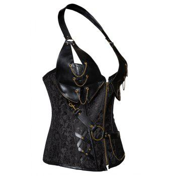 Trendy Chain Embellished Lace-Up Zipper Design Women's Corset - BLACK 6XL