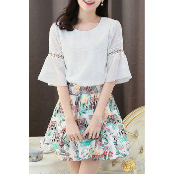 Stylish Women's Flare Sleeve Blouse + Printed Organza Skirt Twinset