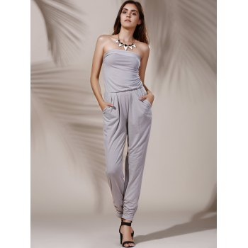 Fashionable Strapless Pure Color Pocket Design Women's Jumpsuit - LIGHT GRAY S