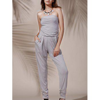 Fashionable Strapless Pure Color Pocket Design Women's Jumpsuit