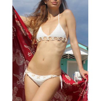 Halter Shell Inlaid Crochet Bikini Set