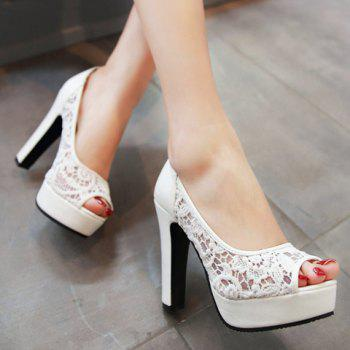Fashionable Gauze and Embroidery Design Women's Peep Toe Shoes - 35 35