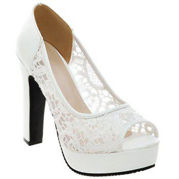 Fashionable Gauze and Embroidery Design Women's Peep Toe Shoes - WHITE WHITE