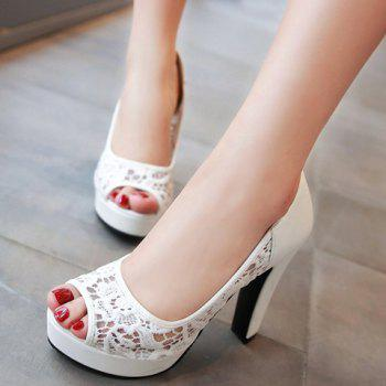 Gauze mode et conception de broderie femme d  'Peep Toe Shoes - Blanc 35