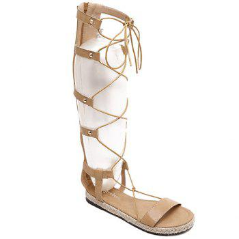 Rome Style Lace-Up and Weaving Design Women's Sandals