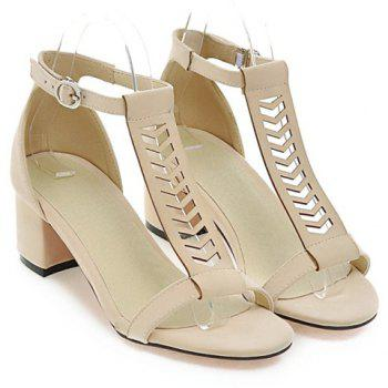 Leisure T-Strap and Chunky Heel Design Women's Sandals - OFF WHITE 38