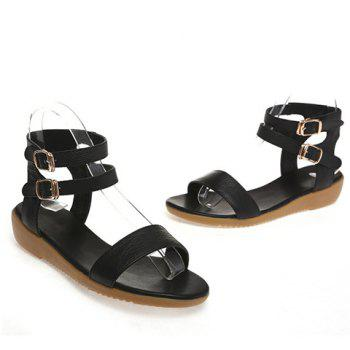 Casual Double Buckle and Flat Heel Design Women's Sandals - BLACK 38