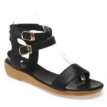 Casual Double Buckle and Flat Heel Design Women's Sandals