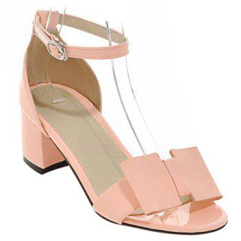 Trendy Ankle Strap and Patent Leather Design Women's Sandals