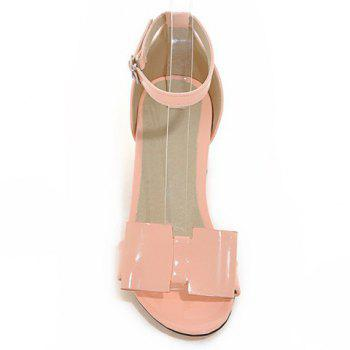 Trendy Ankle Strap and Patent Leather Design Women's Sandals - PINK 34