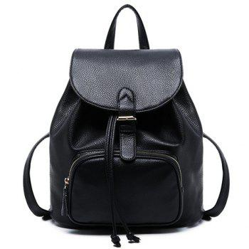 Concise Black and Buckle Design Women's Satchel