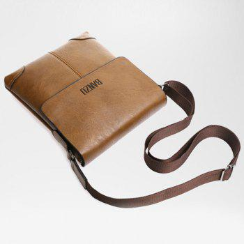 Vintage Letter and PU Leather Design Men's Messenger Bag -  DEEP BROWN
