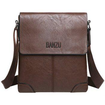 Vintage Letter and PU Leather Design Men's Messenger Bag