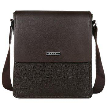 Simple Dark Color and Letter Design Men's Messenger Bag - BROWN BROWN