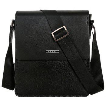 Simple Dark Color and Letter Design Men's Messenger Bag - BLACK BLACK