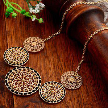 Hollow Out Round and String Embellished Necklace