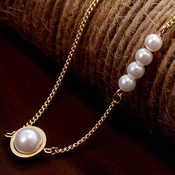 Faux Pearl and Circle Ring Embellished Necklace