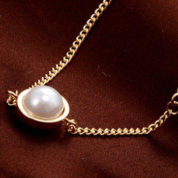 Faux Pearl and Circle Ring Embellished Necklace - GOLDEN