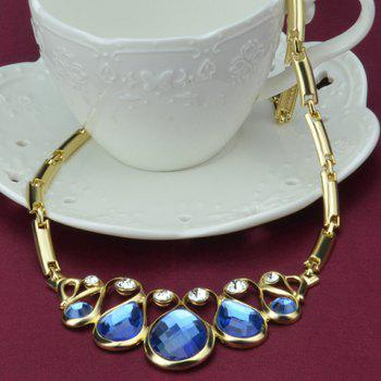 A Suit of Rhinestone Faux Crystal Teardrop Necklace Bracelet Earrings and Ring - BLUE/GOLDEN