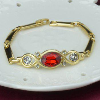 A Suit of Alloy Faux Ruby Rhinestone Necklace Bracelet Ring and Earrings - GOLD/RED