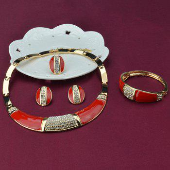 A Suit of Rhinestoned Enamel Necklace Bracelet Earrings and Ring - COLORMIX
