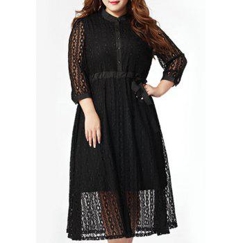 Trendy Plus Size Button Fly Bowknot Waist Hollow Out Dress For Women