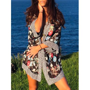 Stylish 3/4 Sleeve Floral Printed Women's Cover-Up