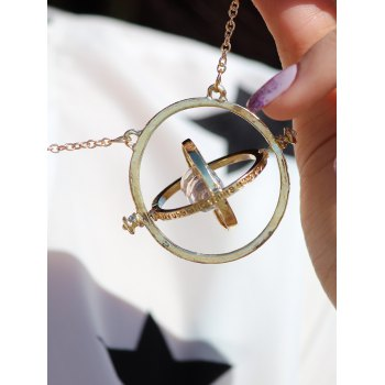 Vintage Alloy Sand Clock Pendant Necklace - AS THE PICTURE