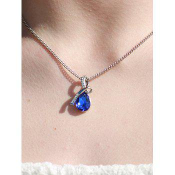 Sparking Waterdrop Rhinestoned Pendant Necklace - DEEP BLUE DEEP BLUE