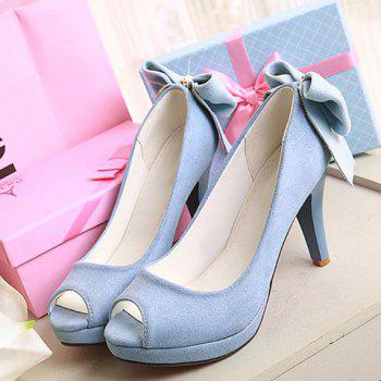 Sweet Bow and Chunky Heel Design Women's Peep Toe Shoes - 37 37