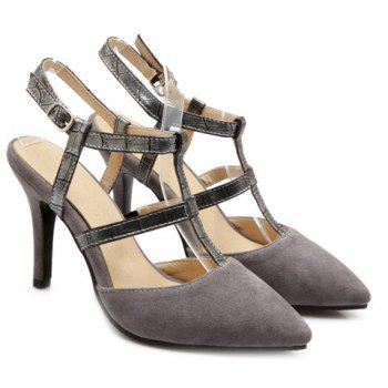 Elegant Suede and Slingback Design Women's Pumps - GRAY 34