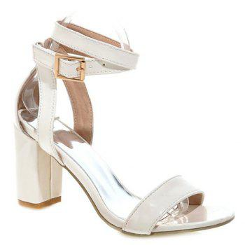 Buy Stylish Solid Color Chunky Heel Design Women's Sandals OFF WHITE