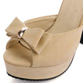 Stylish Metal and Bowknot Design Women's Sandals - APRICOT 34