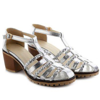Talon Chunky Casual and Sandals Tissage design Femmes  's - SILVER 39